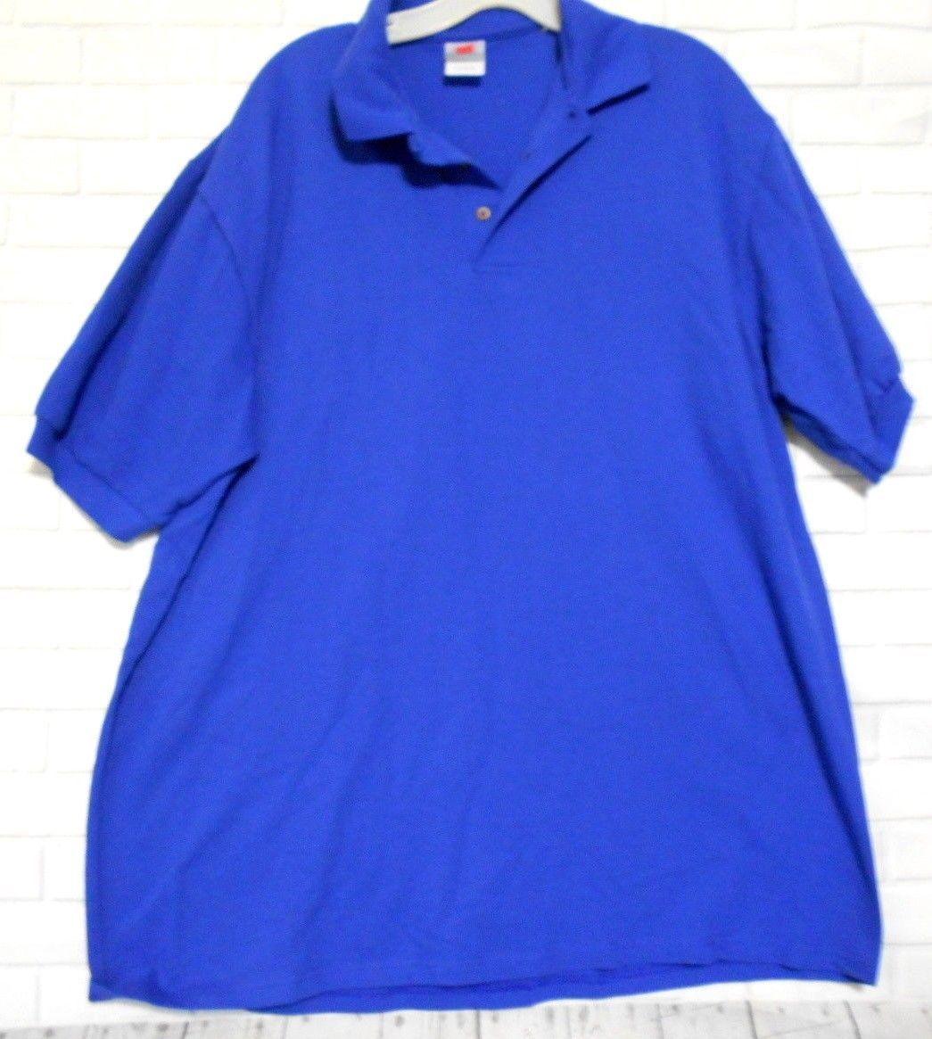 Hanes Stedman Blue Cotton XL 46-48 Short Sleeve Three Henley  Polo Golf Shirt - £9.11 GBP