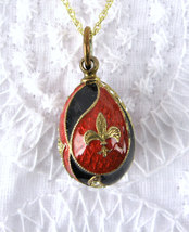 Enamel Easter Egg Pendant Necklace Red And Black Rhinestones Fleur d Lis GF - $68.00