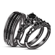 Black Diamond His & Her Wedding Trio Ring Set 14k Black Gold Finish 925 Silver - $162.99