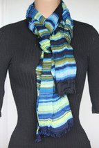 NEW Calvin Klein Blue Green Striped Women's Neck Scarf Wrap Rayon size 2... - $14.84