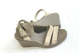 Crocs Women's Size 7 Leigh Sandal Wedge OatmealL Linen Ankle Strap - $19.80