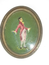 Pair Vtg Completed Framed Glass Needlepoint Victorian Couple Pictures Ov... - $41.75