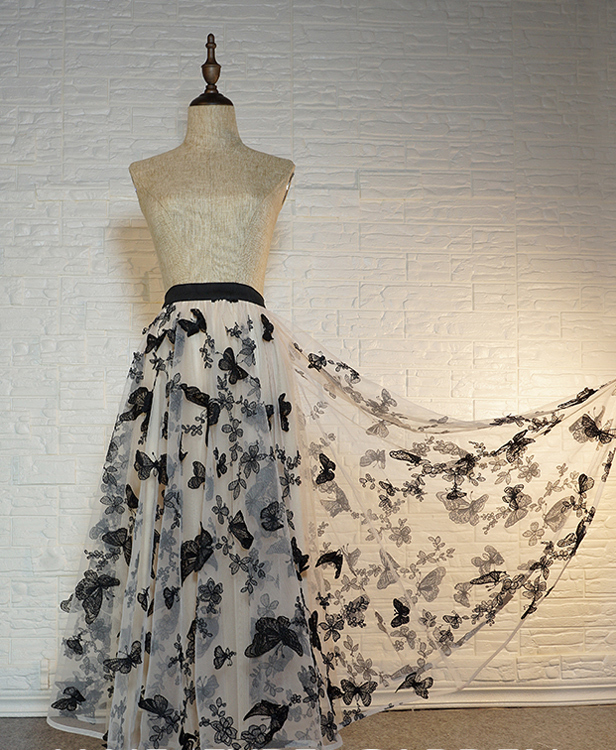 Black champagne long tulle skirt butterfly  7