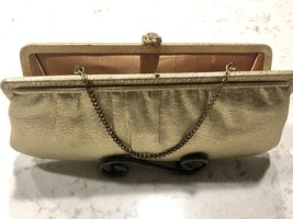 1960's L and M After Five Vintage Metallic Gold Clutch with Gold & Cryst... - $43.99