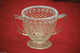 Vintage Moonstone Clear Opalescent Hobnail Anchor Hocking Footed Open Su... - $16.82
