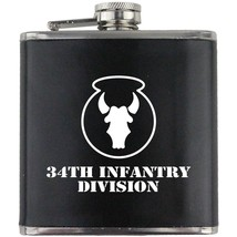 Army 34th Infantry Division Veteran Soldier Groomsman Gift Leather Wrapped Flask - $19.79