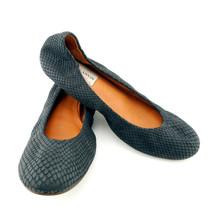LANVIN Size 8 Black Textured Snake Print Ballet Flats Shoes 38.5 Eur - $198.00