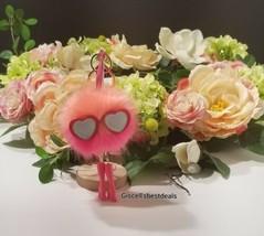 Victoria's Secret Ombre Pink Runway Pom Fuzzy Glasses Charm Keychain - $29.69