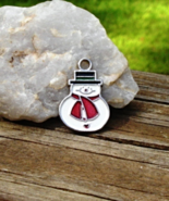 Dainty Snowman Pendant with White Black and Red Enamel, Silver, Gift Dec... - $1.00
