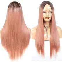 Valentines Day Gifts Aigemei Women's wig Long Straight Ombre Pink Color 24 Inch