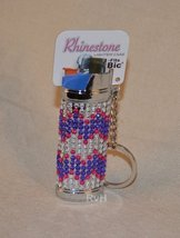 Rhinestone Lighter Cover/Sleeve (for REGULAR BICs) White, Purple w/Pink (R4)