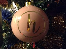 Letter H in Gold on Pink Ceramic Monogram Ornament