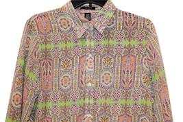 Chaps by Ralph Lauren Paisley Scroll Long Sleeve LS Blouse Front Top M L XL - $39.99