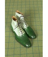 Handmade Two Tone High Ankle Boots, Men Green And White Brogue Ankle Boots - $179.99