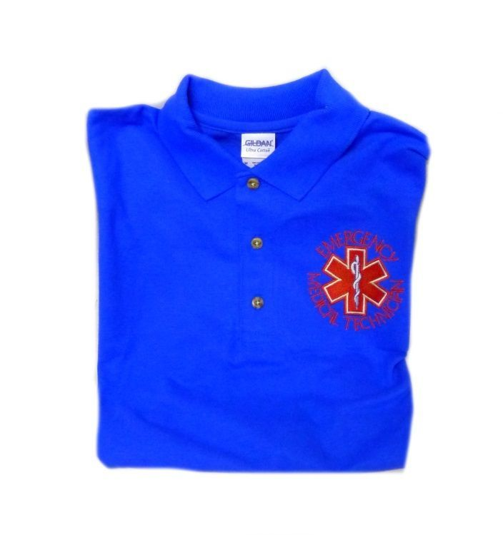 EMT S/S Polo Shirt L Emergency Medical Technician Star of Life Royal Blue Gold