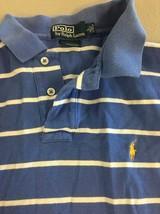 Ralph Lauren Polo Youth Large 16/18 Stripe Blue Logo Horse C81 - $9.74