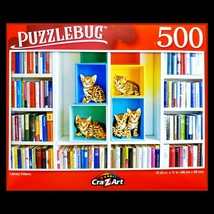 500 Piece Jigsaw Puzzle Puzzlebug 18 x 11, Colorful Library Kittens - $5.18