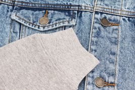 Men's Two Tone Jean And Grey Jersey with Removable Hood Denim Trucker Jacket image 6