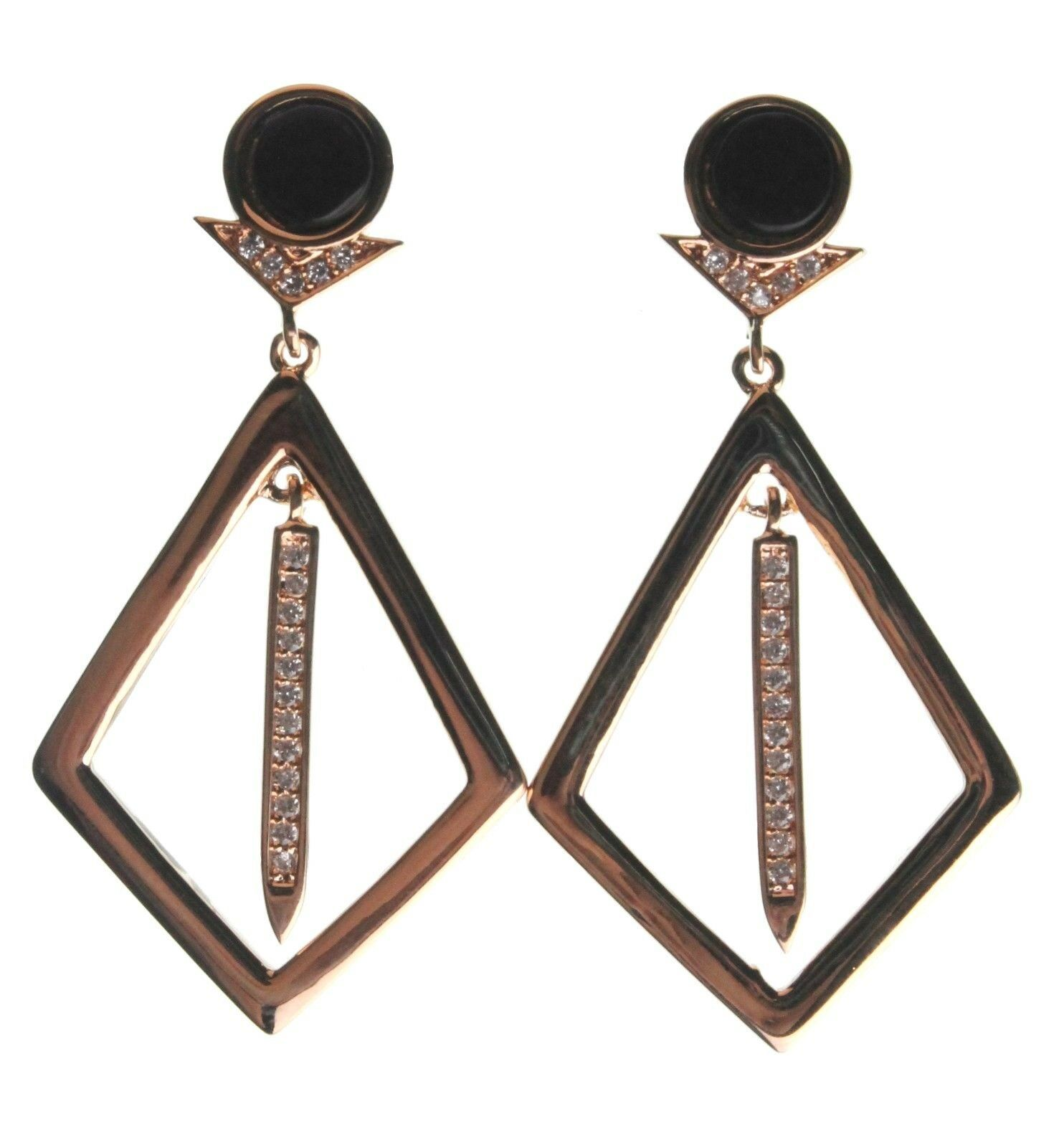 Edison 14K Yellow Gold Plated Kite Cubic Zirconia Crystal Black Stone Earrings
