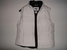 Lot of 2 White Black Quilted Feather Down Ski Vest Puffy Jacket sz M For... - $24.75