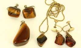 Vintage 12k GF Gold Filled Tiger's Eye 2 Pendant Necklaces, 2 Prs Earrin... - $41.39