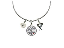 Custom Lacrosse Coach Thank You Gift Silver Necklace Jewelry Choose Initial - $14.87