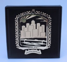 Jacksonville Florida Brass Ornament I Love My State Black Leatherette Gi... - $14.95