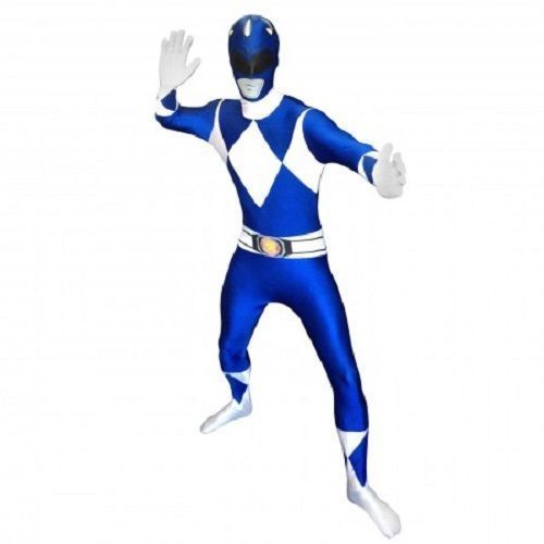 Combinaison Moulante Bleu Power Rangers Peau Halloween Costumes Adultes 78-0318