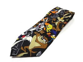 1994 Looney Tunes Characters Graphic Neck Tie 100% Silk Made in Korea - $24.70