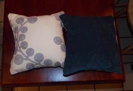 Pair of Blue White Decorative Print Throw Pillows  10 x 10 - $29.95