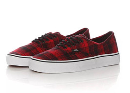 Vans Authentic Plaid Flannel Racing Red/True White Unisex Adult Sneaker - $37.39