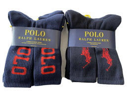 Polo Ralph Lauren men's 12 pair Navy crew large pony logo athletic Socks - $50.45
