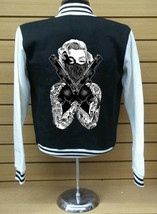 Varsity Collage Baseball BLACK/WHITE Fleece Jacket Marlyn Monroe Bandit With Gun - $28.71+
