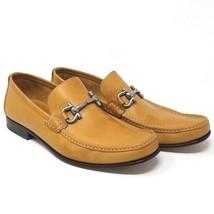 SALVATORE FERRAGAMO Fiordi Gancini Bit Loafer Brown Tan Camel Leather Me... - $250.00