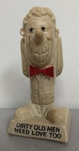 Vintage Russ Berrie 1970 Dirty Old Men Need Love Too Creepy Old Man Resin Figure - $8.90