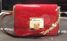 MICHAEL KORS TINA CONVERTIBLE CROSSBODY Patent Leather CLUTCH BAG Cherry... - $110.88