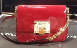 Michael Kors Tina Convertible Crossbody Patent Leather Clutch Bag Cherry Nwt - $110.88