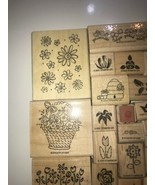 Stampin up Rubber stamps 1997 - 2004 mix Stamps of FLOWERS Lot of 21 - $23.36