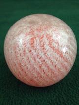 VTG Orange w/ White Swirl Over Round Glass Paperweight Orb - $13.98