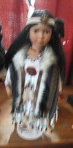 Heritage House Native Voices Ltd Porcelain American Indian Doll With Stand - $27.69