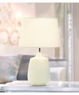 QUILTED DIAMONDS Table Lamp White Ceramic Indoor Lighting - $44.95