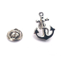 Nautical Anchor & Chain 3d effect silver Metal Enamel Badge Lapel /tie Pin Badge