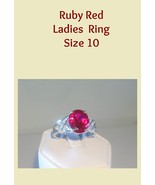 Ruby Red Ladies Fashion Ring Size 10 - $20.00