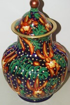 Signed  Hand painted Art Glass Vase Urn Lid Orchid Cattleya Trick or Tre... - $180.49