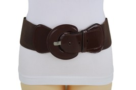Women Chocolate Brown Wide Stretch Fabric Hip Waist Fashion Belt Slimming M L XL - $11.75