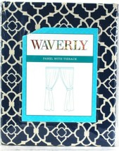 1 Count Waverly Lovely Lattice Indigo Panel With Tieback Fits Up To 2 1/... - $31.99