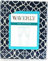 1 Count Waverly Lovely Lattice Indigo Panel With Tieback Fits Up To 2 1/... - $31.99
