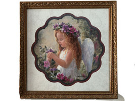 Laurie Snow Hein Framed Picture Matted Red Haired Angel Girl Floral Orna... - $34.60