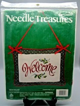 NEW Crewel Embroidery Kit Festive Welcome Pillow Needle Treasures 00851 Welcome - $8.54
