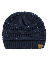 New! C.C Women's Sparkly Sequins Warm Soft Stretch Cable Knit CC Beanie Hat - $13.75